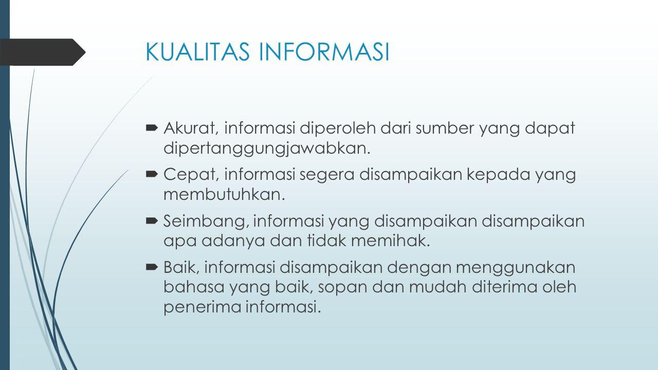 KUALITAS INFORMASI Akurat, informasi diperoleh dari sumber yang dapat dipertanggungjawabkan.