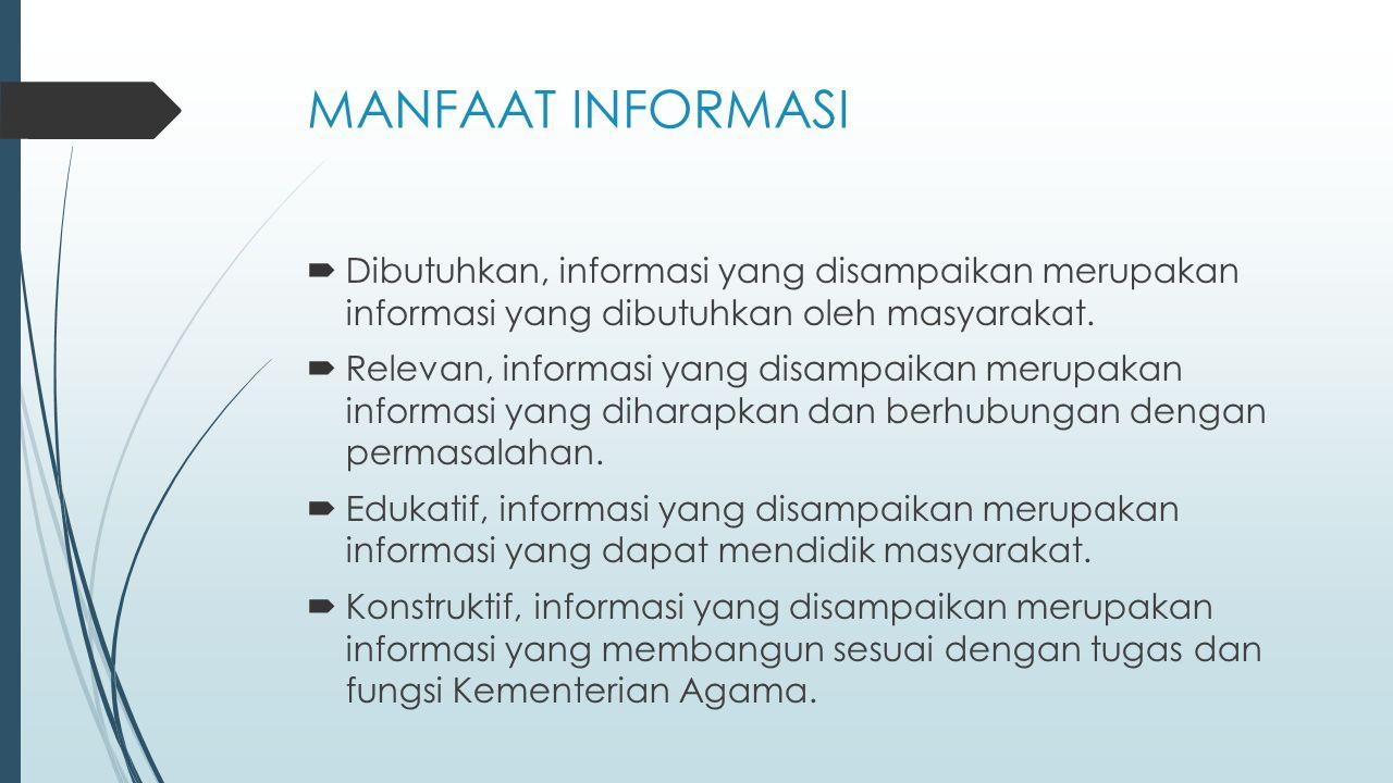 MANFAAT INFORMASI Dibutuhkan, informasi yang disampaikan merupakan informasi yang dibutuhkan oleh masyarakat.