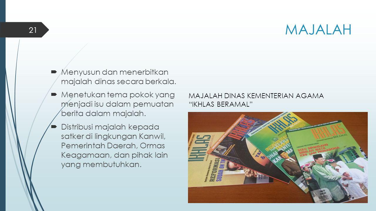 MAJALAH Menyusun dan menerbitkan majalah dinas secara berkala.