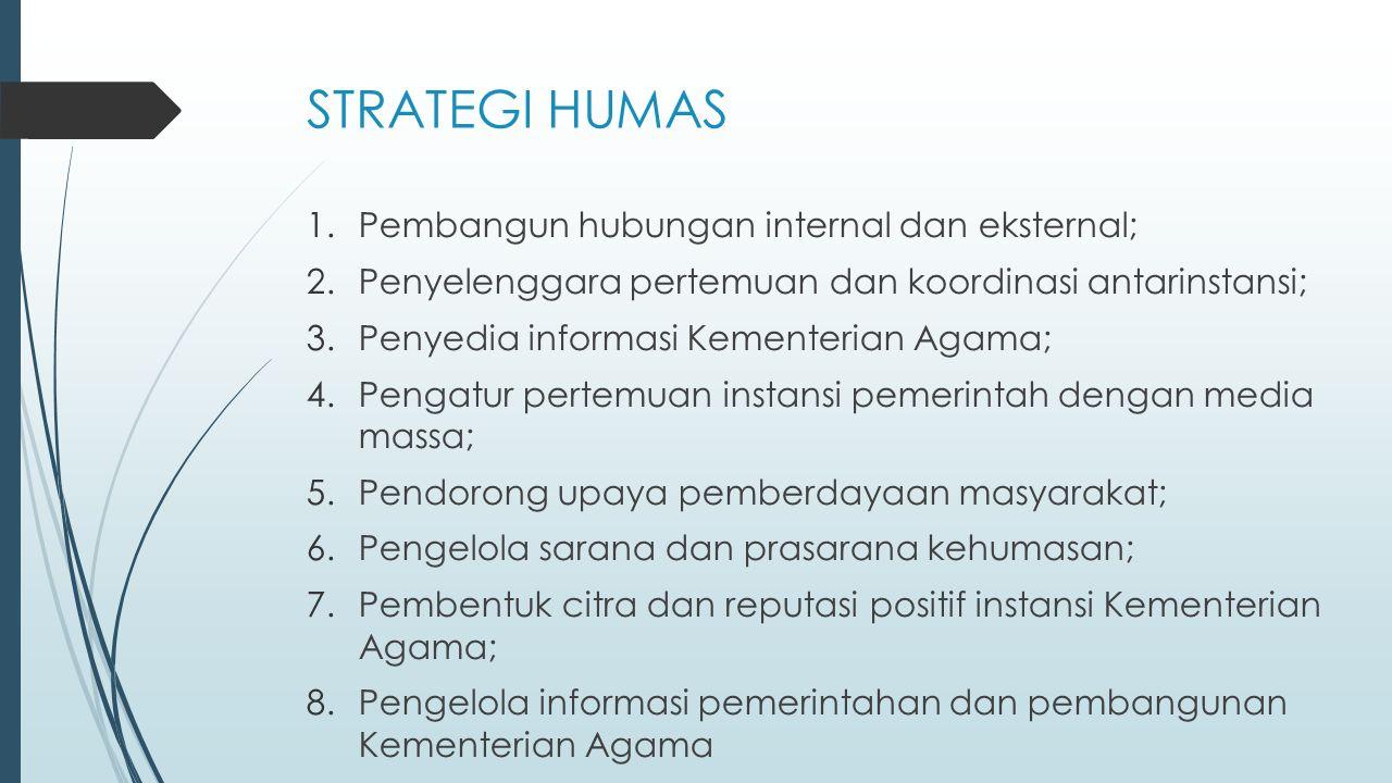 STRATEGI HUMAS Pembangun hubungan internal dan eksternal;