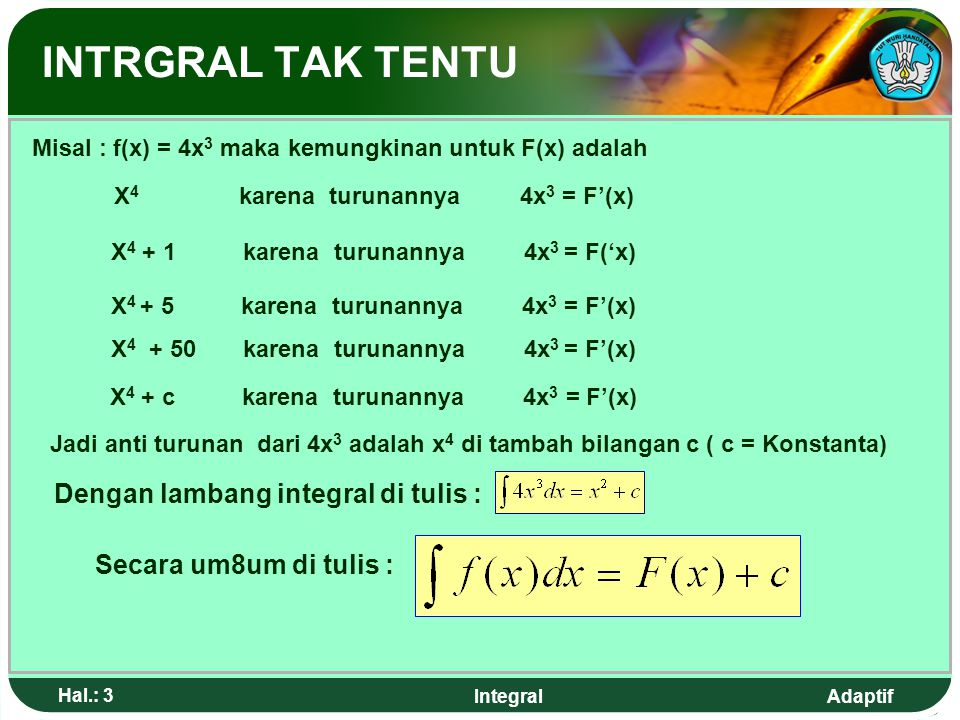 INTRGRAL TAK TENTU Dengan lambang integral di tulis :