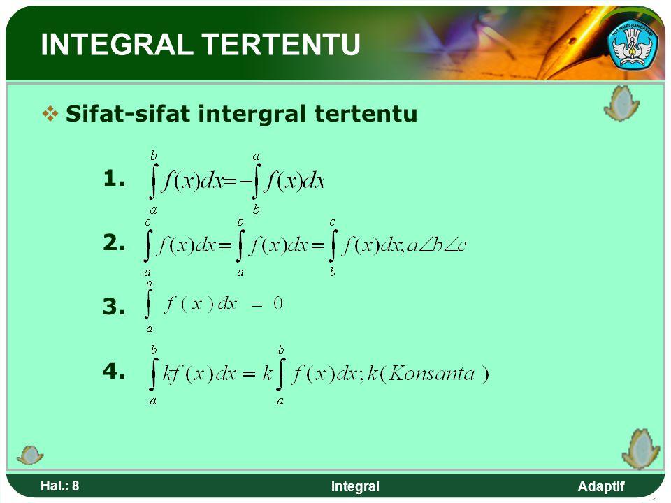 INTEGRAL TERTENTU Sifat-sifat intergral tertentu 1. 2. 3. 4. Hal.: 8