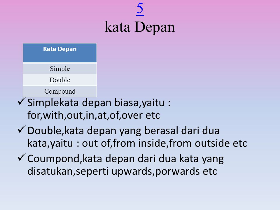 5 kata Depan Kata Depan. Simple. Double. Compound. Simplekata depan biasa,yaitu : for,with,out,in,at,of,over etc.