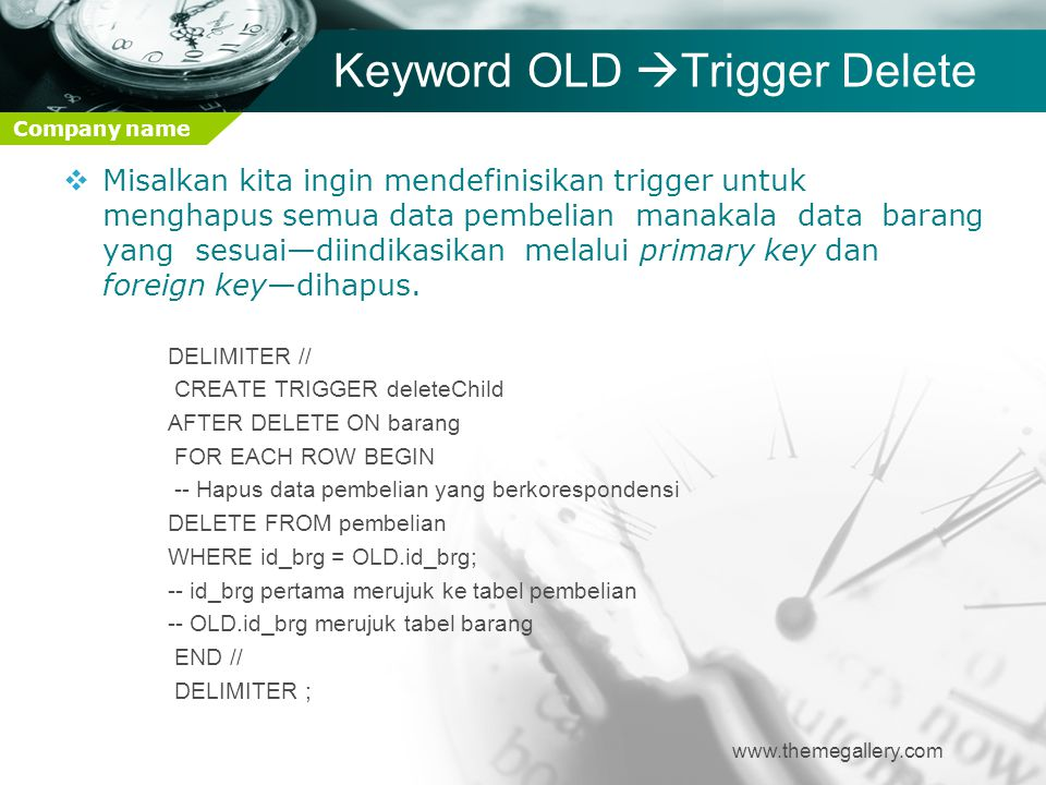 Keyword OLD Trigger Delete