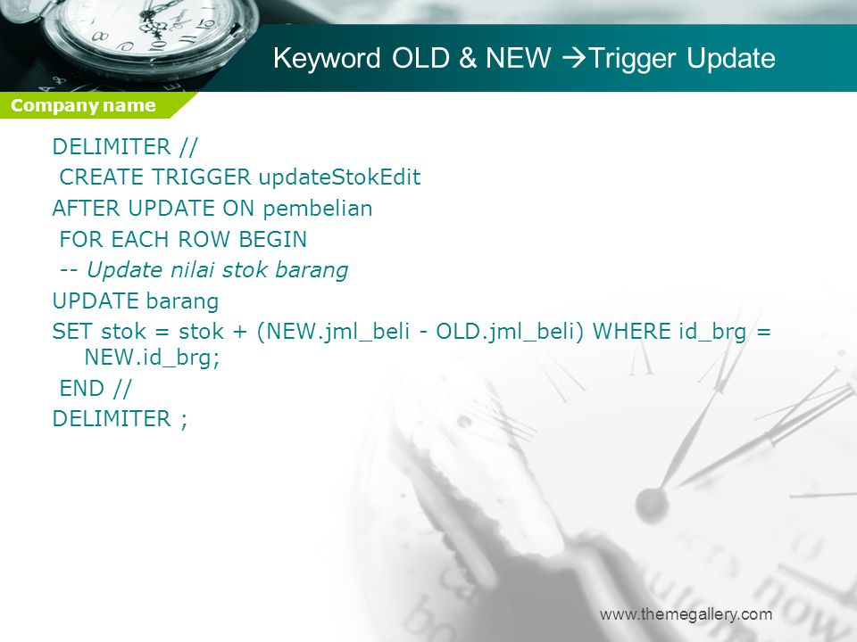 Keyword OLD & NEW Trigger Update
