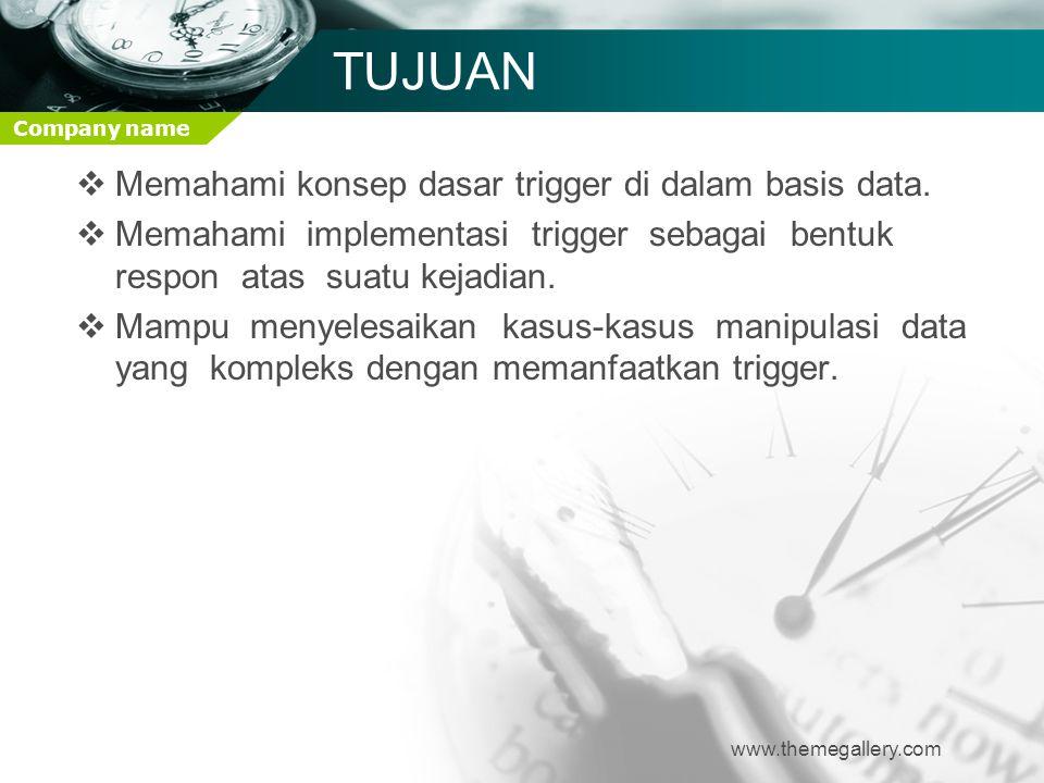 TUJUAN Memahami konsep dasar trigger di dalam basis data.