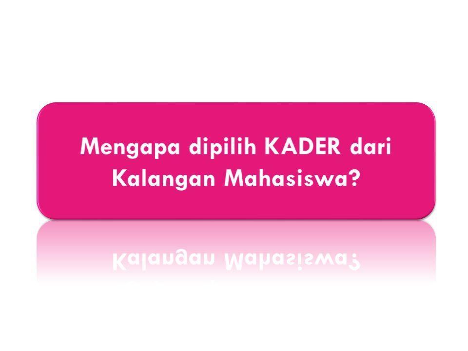 Mengapa dipilih KADER dari Kalangan Mahasiswa