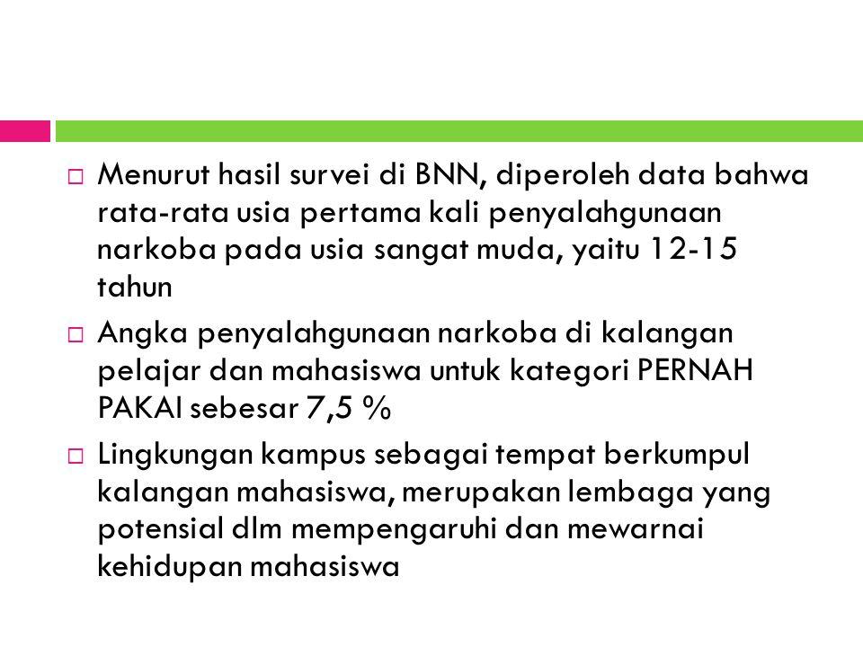 Menurut hasil survei di BNN, diperoleh data bahwa rata-rata usia pertama kali penyalahgunaan narkoba pada usia sangat muda, yaitu 12-15 tahun
