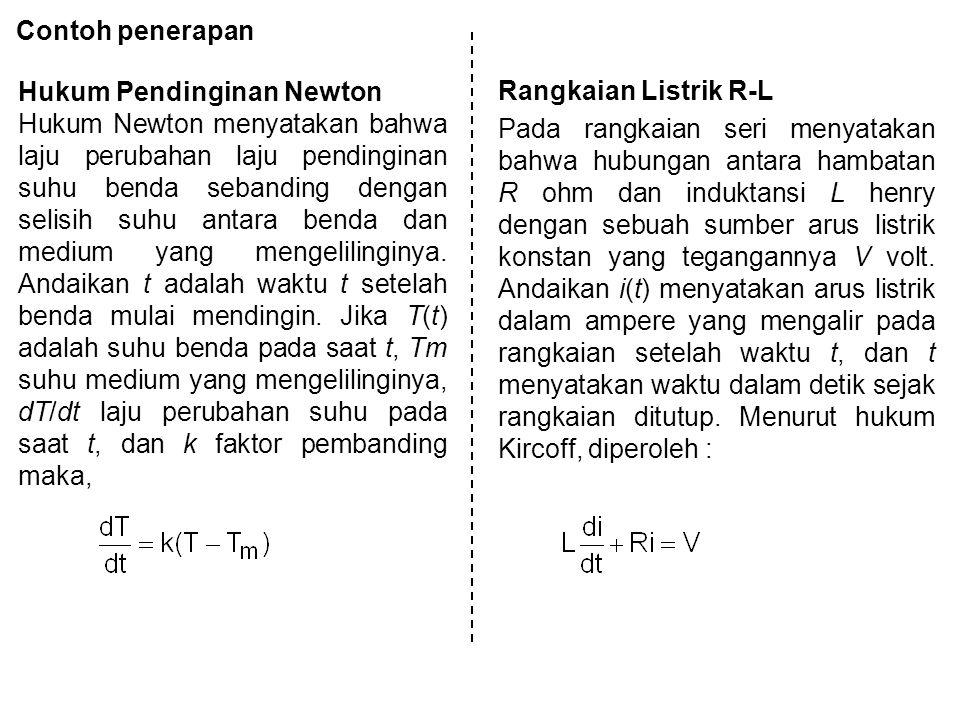 Contoh penerapan Hukum Pendinginan Newton.