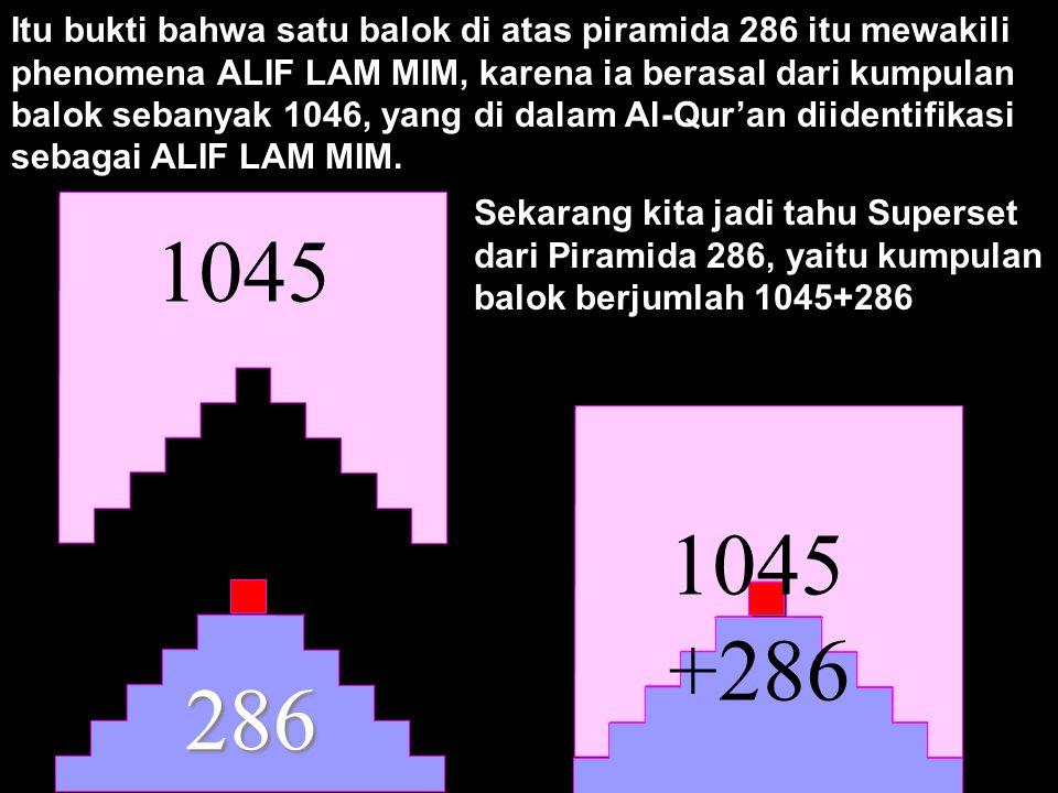 Itu bukti bahwa satu balok di atas piramida 286 itu mewakili phenomena ALIF LAM MIM, karena ia berasal dari kumpulan balok sebanyak 1046, yang di dalam Al-Qur'an diidentifikasi sebagai ALIF LAM MIM.