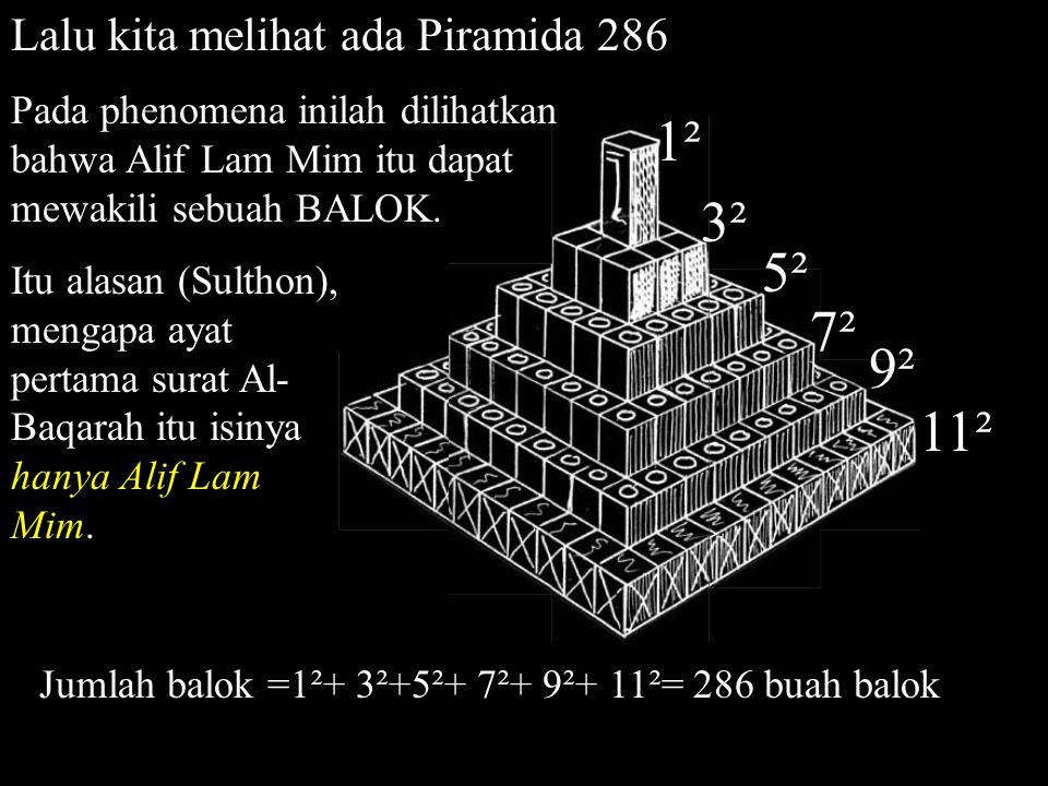 1² 3² 5² 7² 9² 11² Lalu kita melihat ada Piramida 286