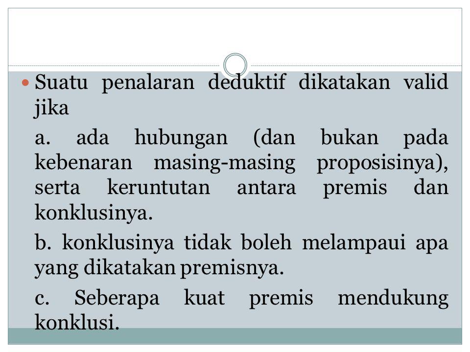 Suatu penalaran deduktif dikatakan valid jika