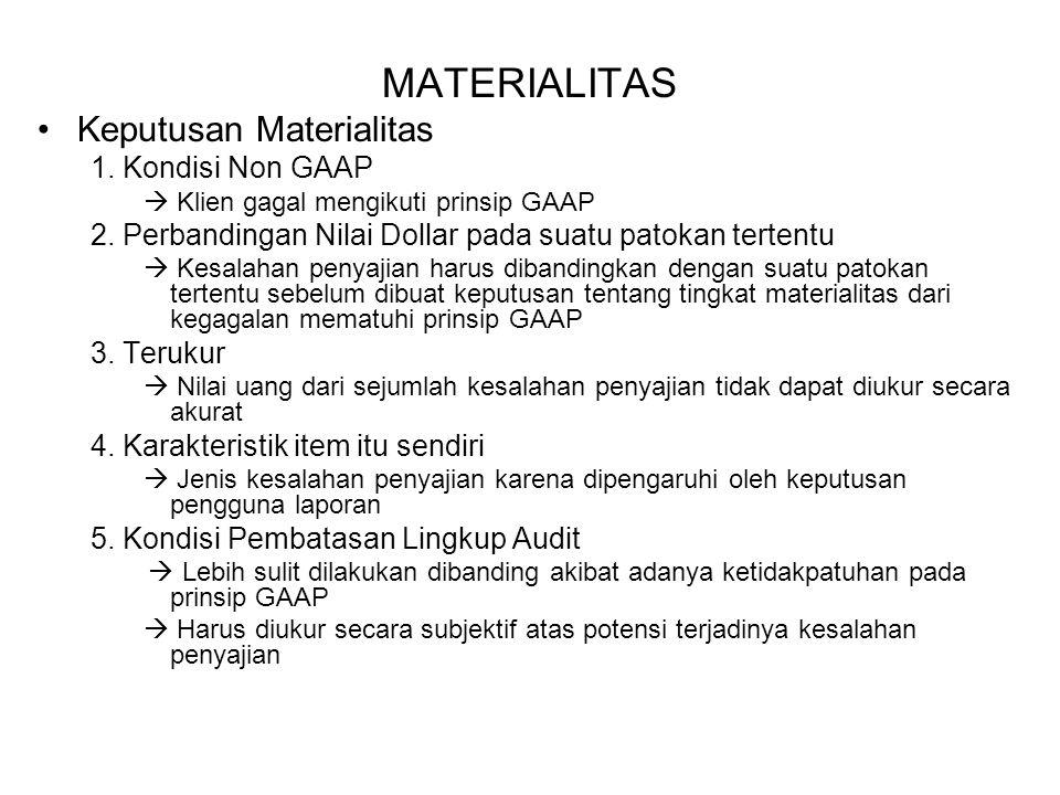 MATERIALITAS Keputusan Materialitas 1. Kondisi Non GAAP