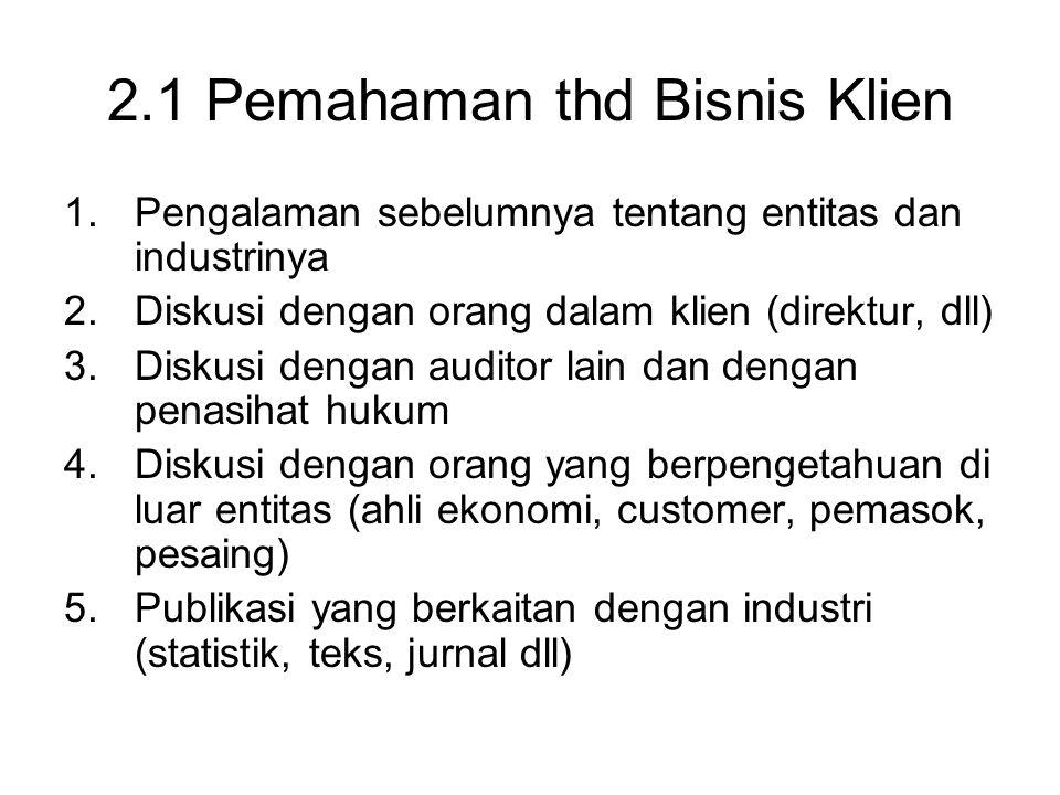 2.1 Pemahaman thd Bisnis Klien