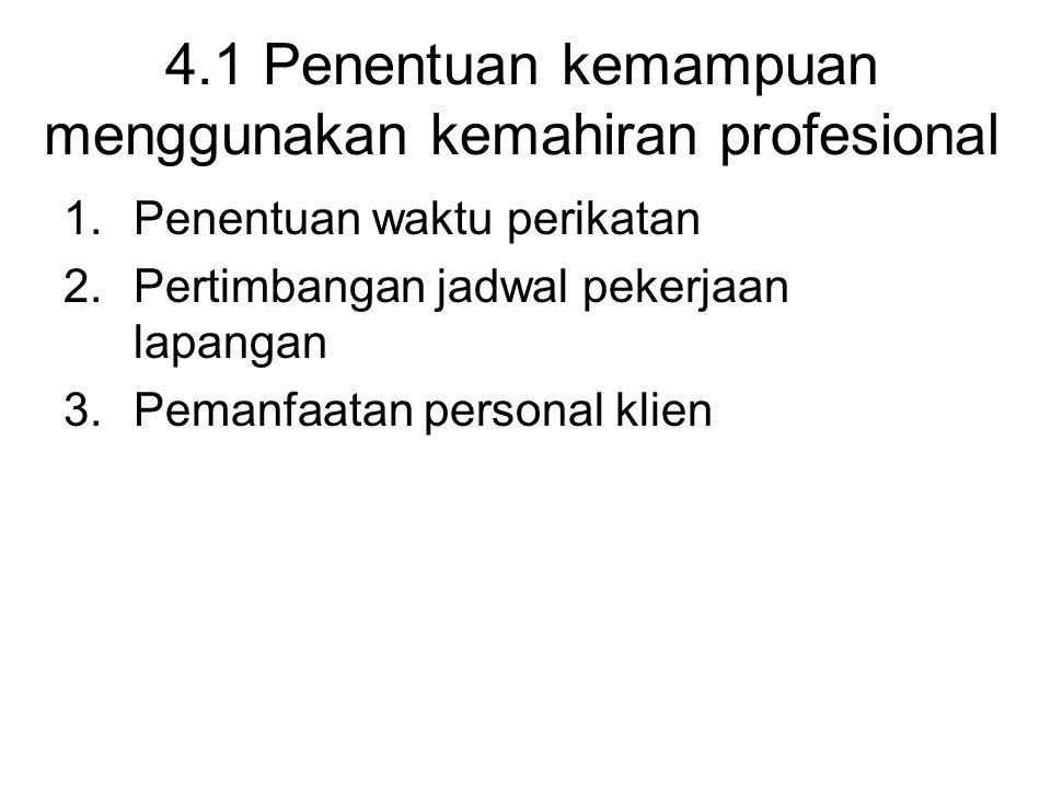 4.1 Penentuan kemampuan menggunakan kemahiran profesional