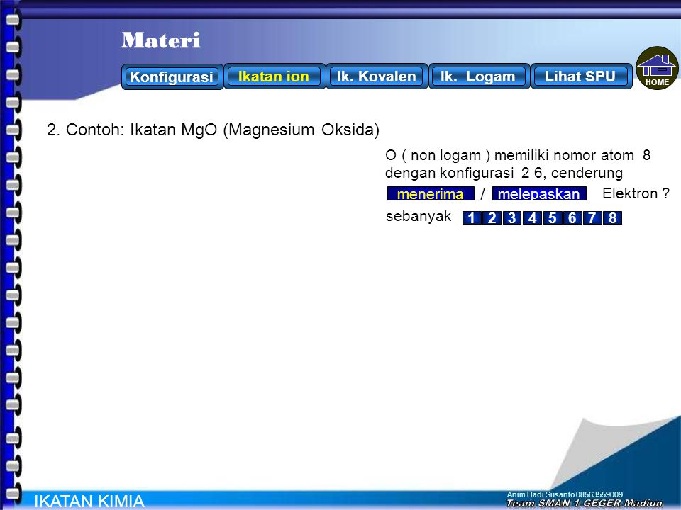 Materi Materi 2. Contoh: Ikatan MgO (Magnesium Oksida) / IKATAN KIMIA