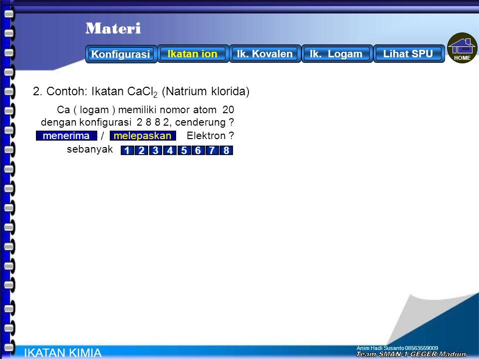 Materi Materi 2. Contoh: Ikatan CaCl2 (Natrium klorida) / IKATAN KIMIA