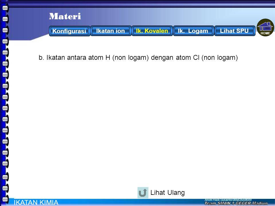 Cl H . . . . . . . . . . Materi Materi H + Cl H Cl atau H - Cl