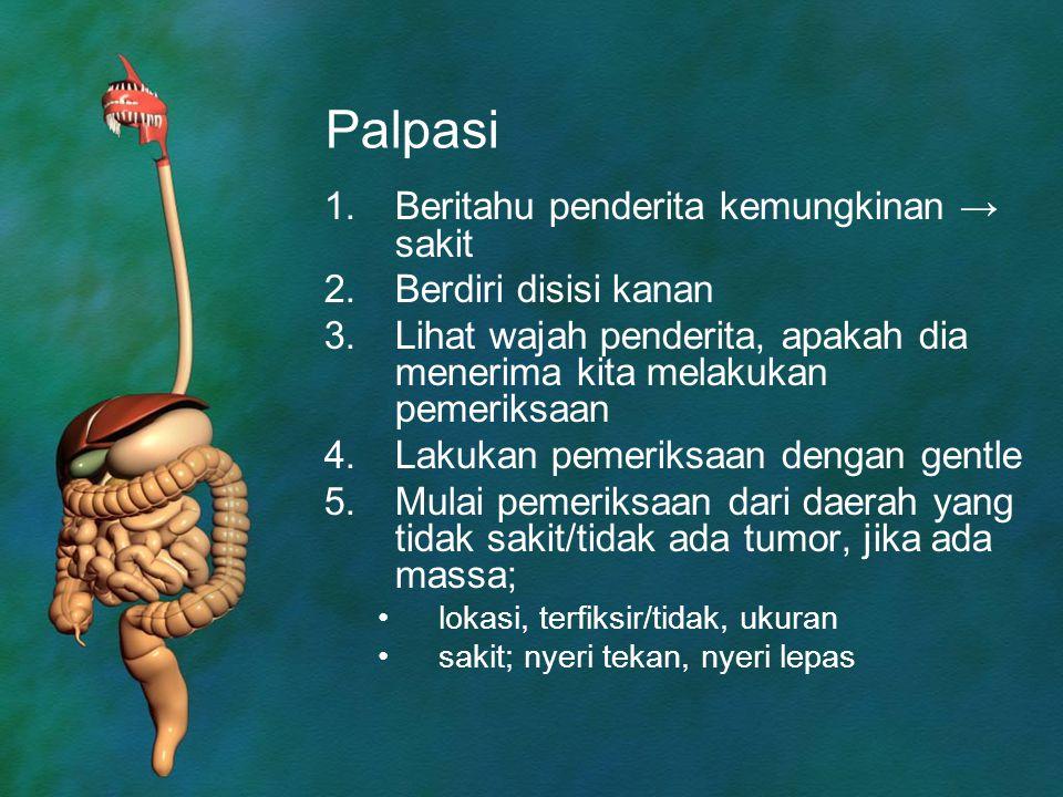 Palpasi Beritahu penderita kemungkinan → sakit Berdiri disisi kanan