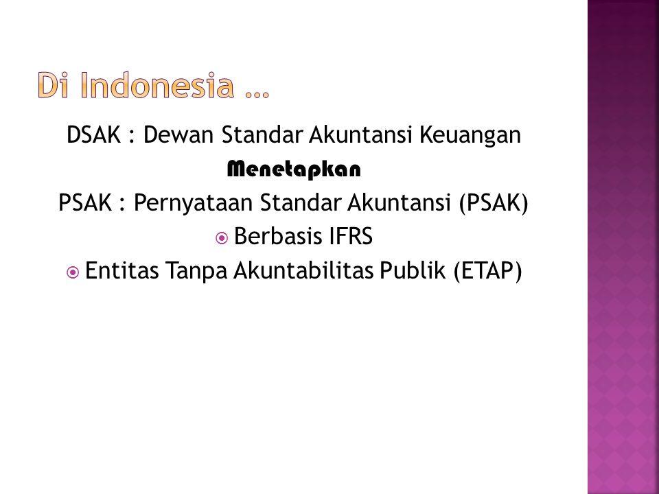 Di Indonesia … DSAK : Dewan Standar Akuntansi Keuangan Menetapkan