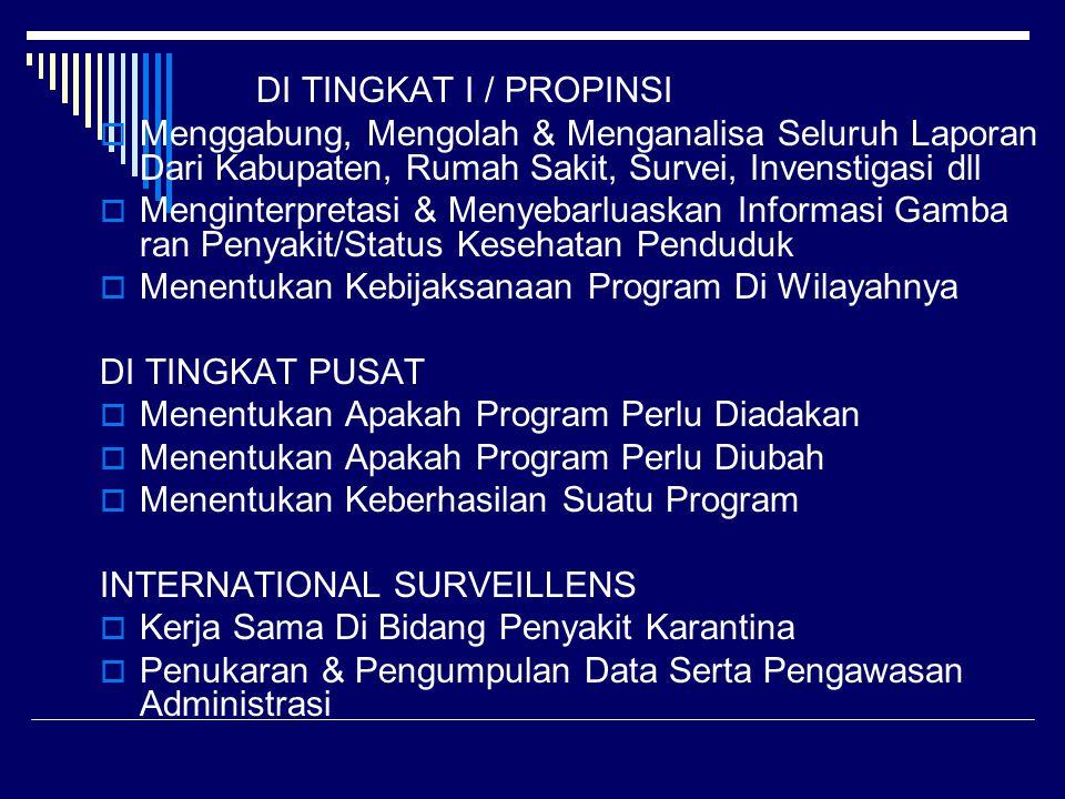 DI TINGKAT I / PROPINSI Menggabung, Mengolah & Menganalisa Seluruh Laporan Dari Kabupaten, Rumah Sakit, Survei, Invenstigasi dll.