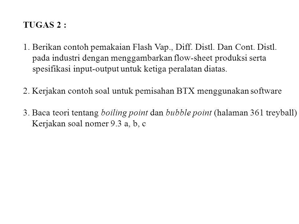 TUGAS 2 : 1. Berikan contoh pemakaian Flash Vap., Diff. Distl. Dan Cont. Distl. pada industri dengan menggambarkan flow-sheet produksi serta.