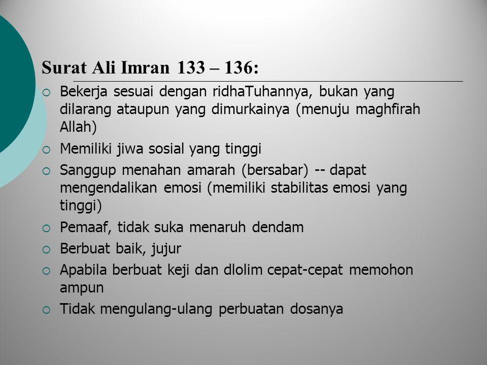 Surat Ali Imran 133 – 136: Bekerja sesuai dengan ridhaTuhannya, bukan yang dilarang ataupun yang dimurkainya (menuju maghfirah Allah)