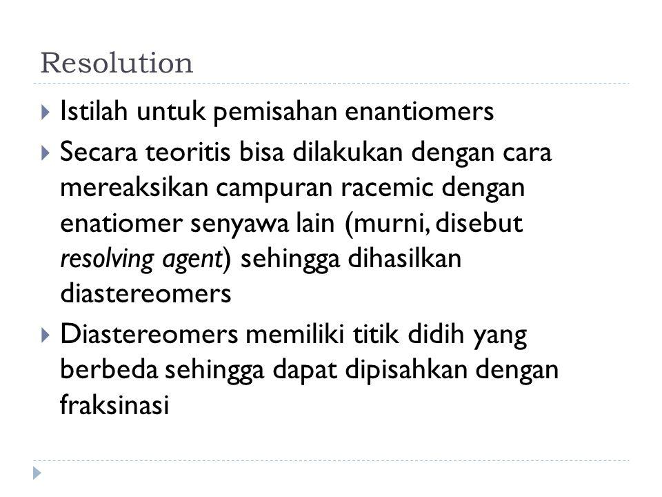Resolution Istilah untuk pemisahan enantiomers.