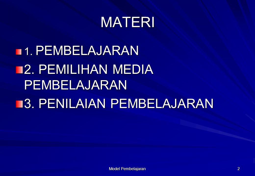MATERI 2. PEMILIHAN MEDIA PEMBELAJARAN 3. PENILAIAN PEMBELAJARAN