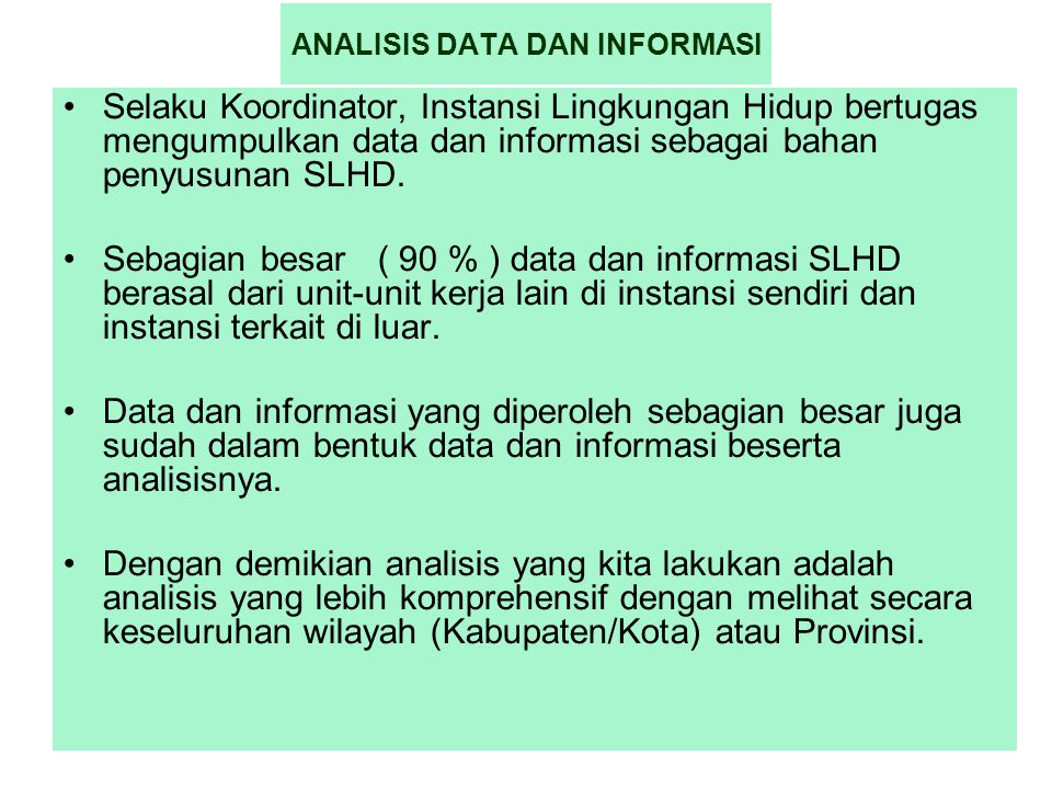 ANALISIS DATA DAN INFORMASI