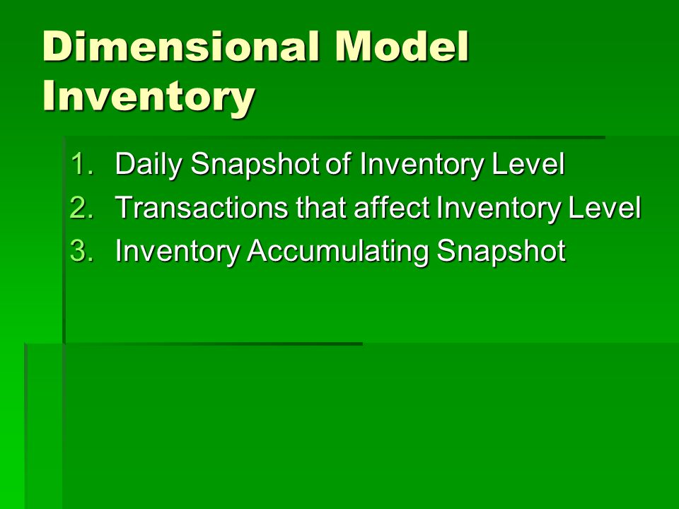 Dimensional Model Inventory