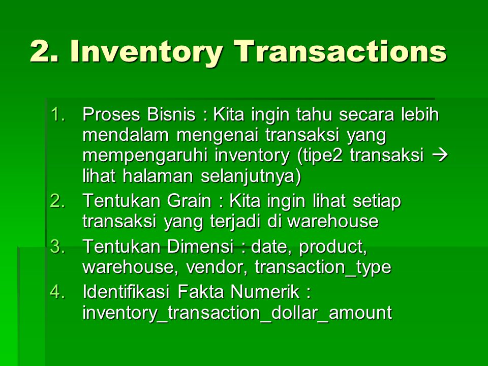 2. Inventory Transactions