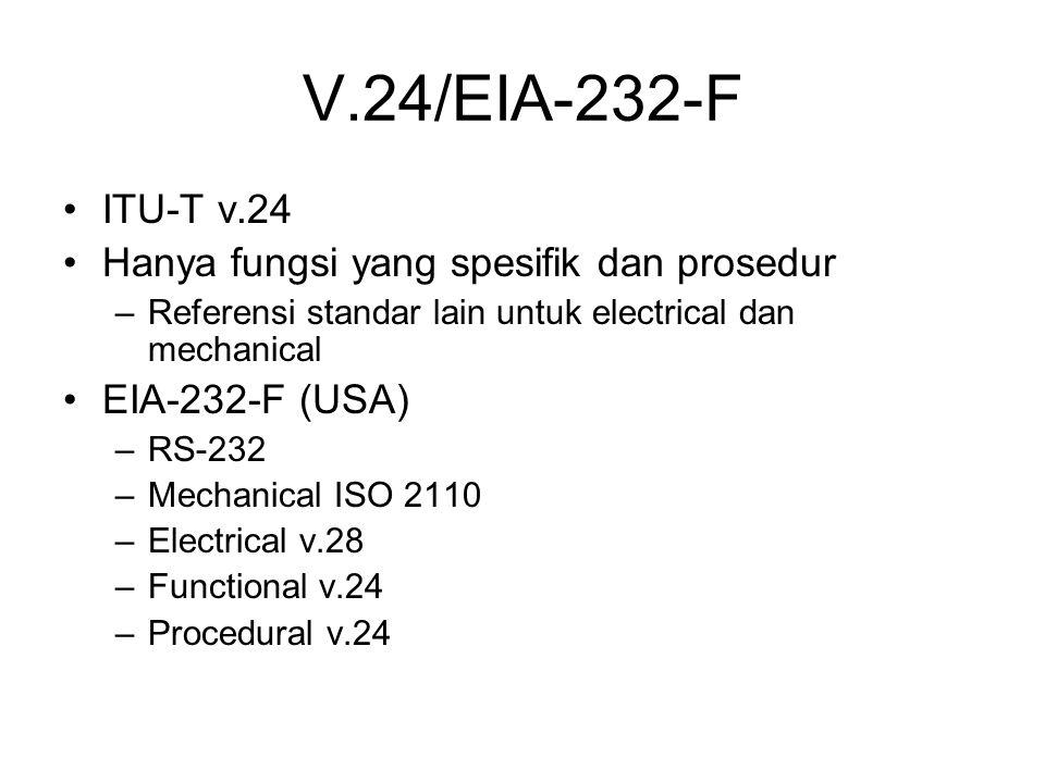 V.24/EIA-232-F ITU-T v.24 Hanya fungsi yang spesifik dan prosedur