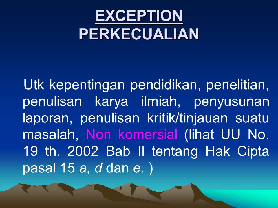 EXCEPTION PERKECUALIAN