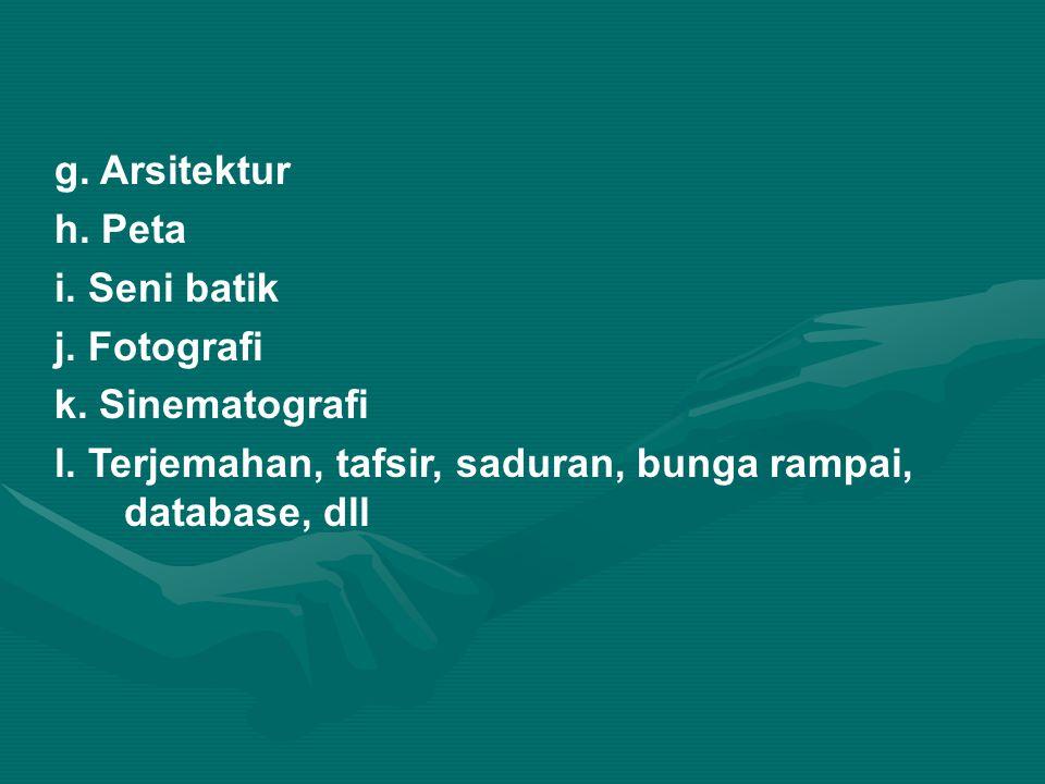 g. Arsitektur h. Peta. i. Seni batik. j. Fotografi.