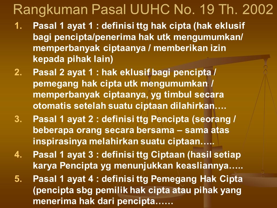 Rangkuman Pasal UUHC No. 19 Th. 2002