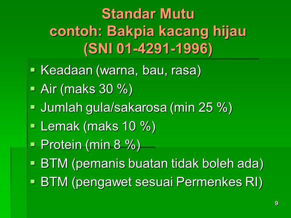 Standar Mutu contoh: Bakpia kacang hijau (SNI 01-4291-1996)