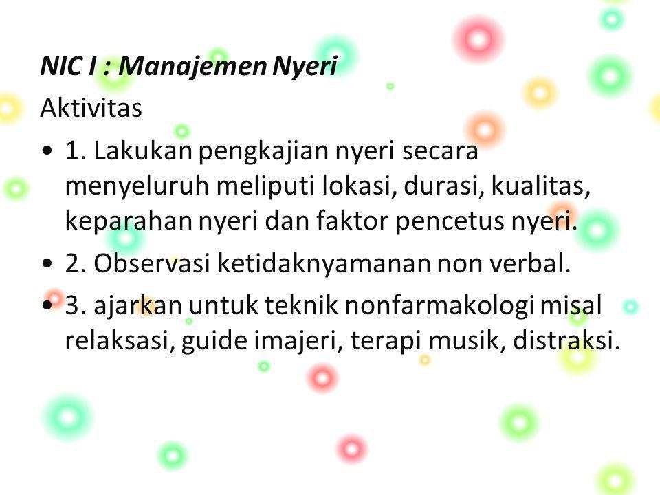 NIC I : Manajemen Nyeri Aktivitas.
