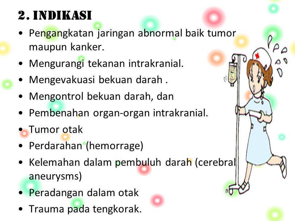 2. INDIKASI Pengangkatan jaringan abnormal baik tumor maupun kanker.