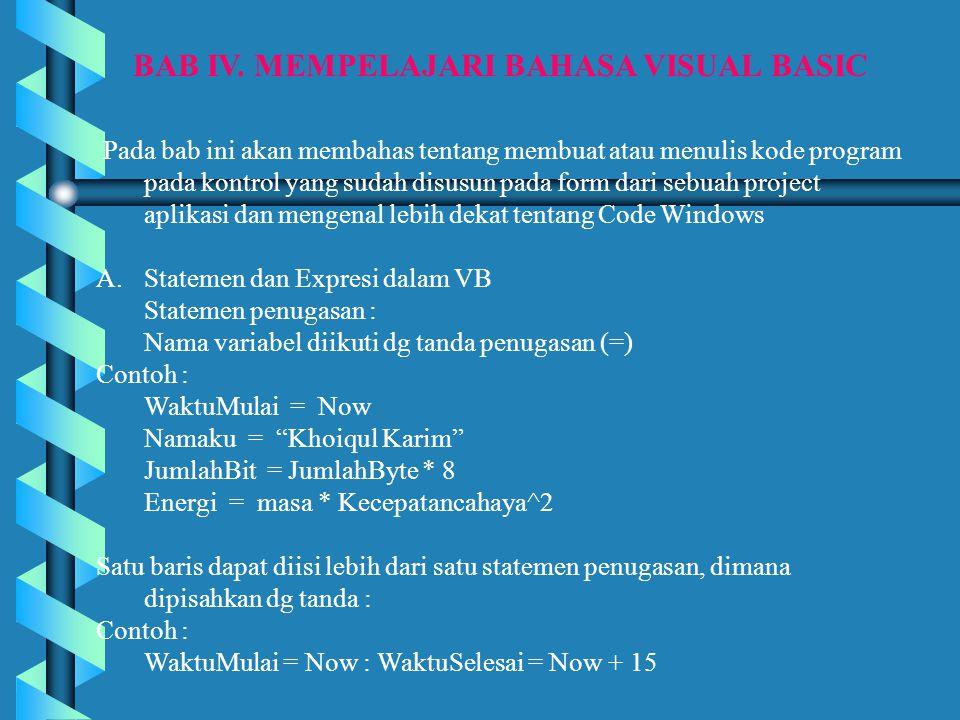 BAB IV. MEMPELAJARI BAHASA VISUAL BASIC