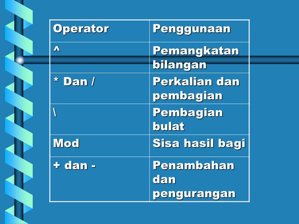 Operator Penggunaan. ^ Pemangkatan bilangan. * Dan / Perkalian dan pembagian. \ Pembagian bulat.