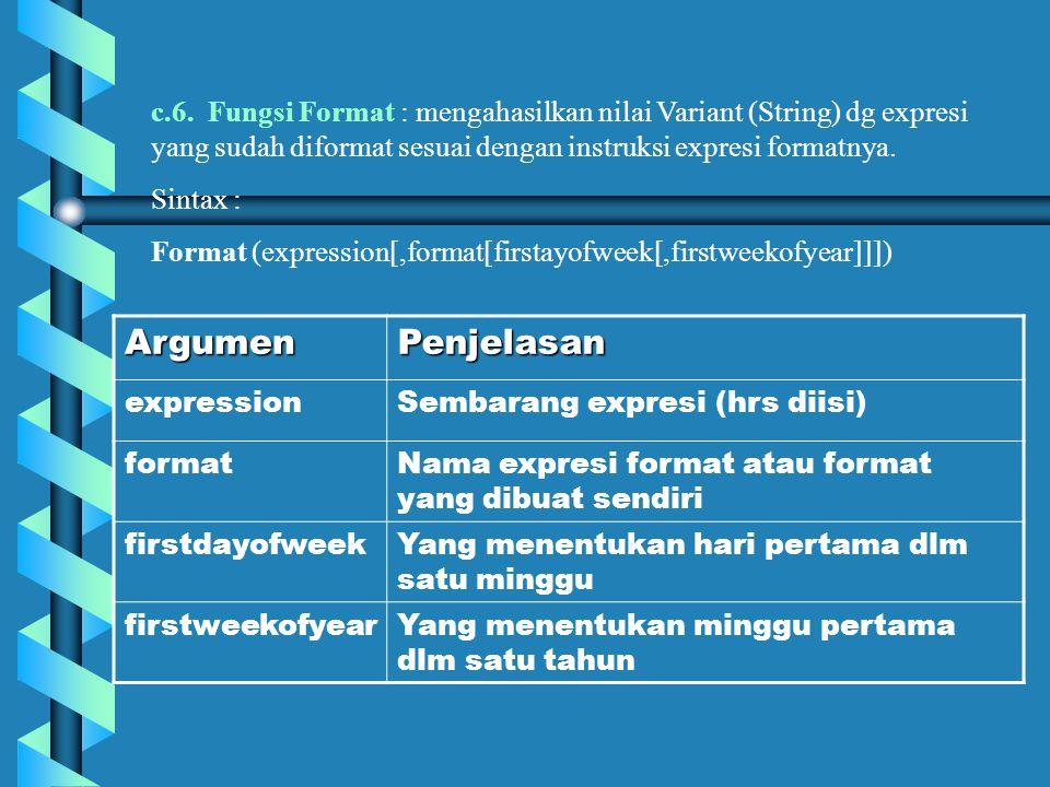 c.6. Fungsi Format : mengahasilkan nilai Variant (String) dg expresi yang sudah diformat sesuai dengan instruksi expresi formatnya.