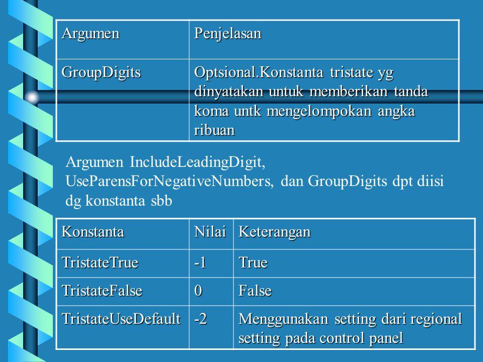 Argumen Penjelasan. GroupDigits. Optsional.Konstanta tristate yg dinyatakan untuk memberikan tanda koma untk mengelompokan angka ribuan.