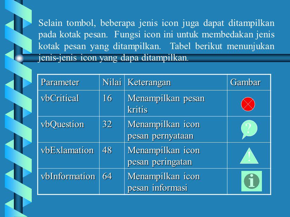 Selain tombol, beberapa jenis icon juga dapat ditampilkan pada kotak pesan. Fungsi icon ini untuk membedakan jenis kotak pesan yang ditampilkan. Tabel berikut menunjukan jenis-jenis icon yang dapa ditampilkan.