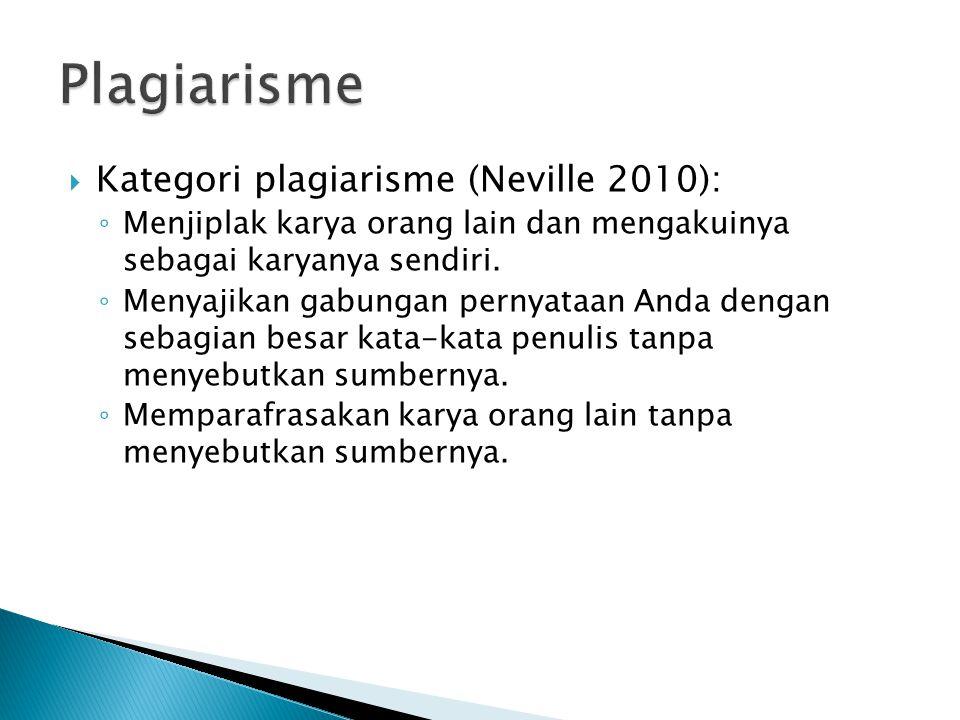 Plagiarisme Kategori plagiarisme (Neville 2010):