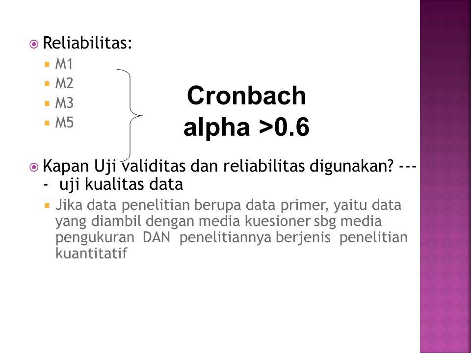 Cronbach alpha >0.6 Reliabilitas: