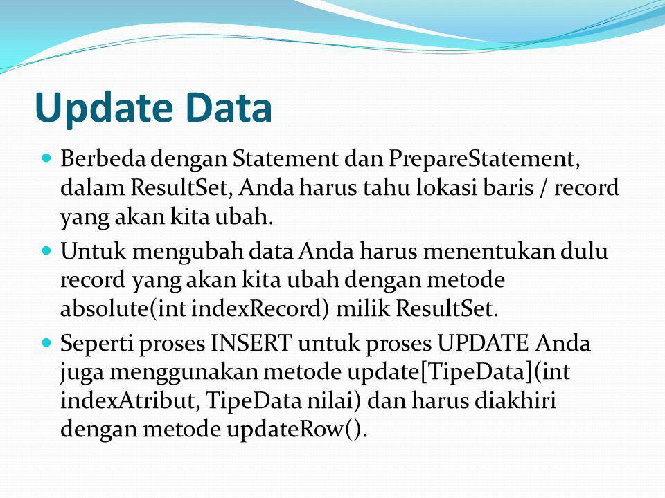 Update Data Berbeda dengan Statement dan PrepareStatement, dalam ResultSet, Anda harus tahu lokasi baris / record yang akan kita ubah.