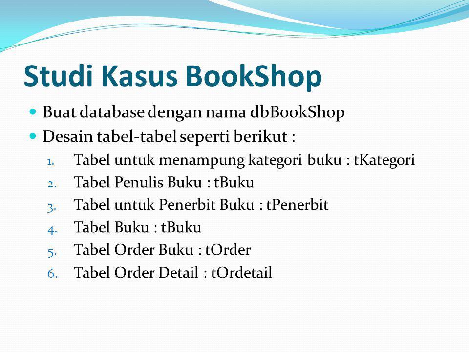 Studi Kasus BookShop Buat database dengan nama dbBookShop
