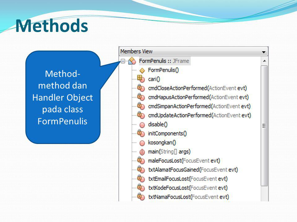 Method-method dan Handler Object pada class FormPenulis