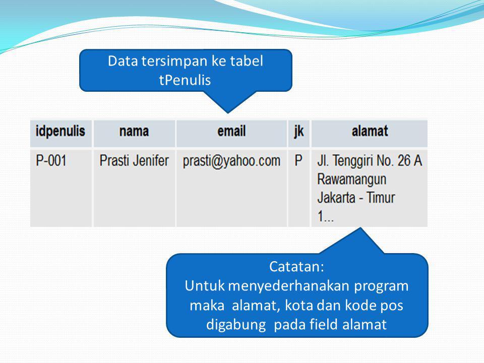 Data tersimpan ke tabel tPenulis